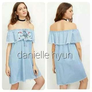 🔴Denim embroidered  off shoulder dress