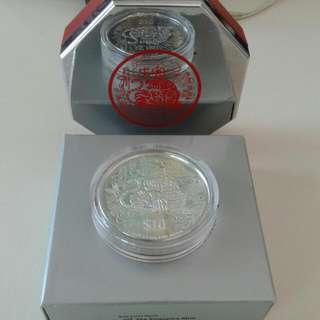 1988 $10 Silver Piedfort Proof Coin.Tiger.