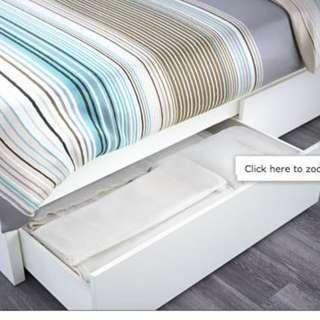 IKEA MALM bed storage drawers WHITE x 2