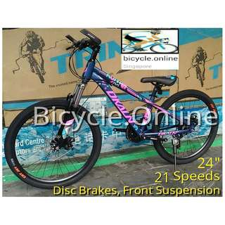 """Free delivery!  24"""" Lady MTB / Mountain Bikes ✩ Disc Brakes ✩ 21 speeds ✩ front suspension ✩ low frame, suitable for riders above 130cm height ✩ Brand new bicycles *JB2421St"""