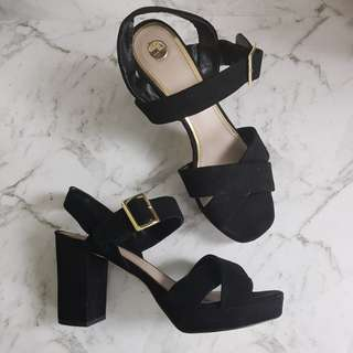 ZU black, strappy heels