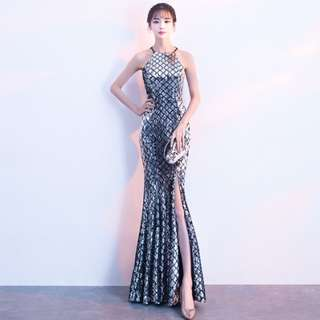 Halter sequined slim fishtail Evening Dress