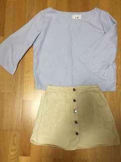 [清衣櫃優惠] 夏日文青配搭👩🏻🎨 藍白幼間恤衫卡其色牛仔裙
