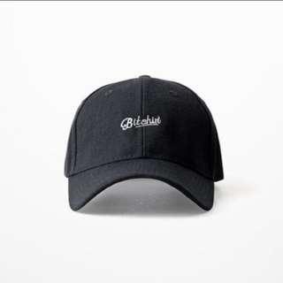 (INSTOCKS) Monochrome Bitchin Embroidered Baseball Black Cap!