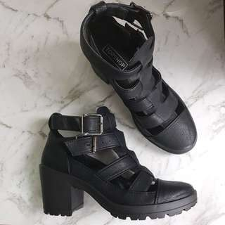 Topshop black cage ankle boots