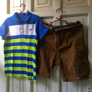 Wrangler Polo Shirt And Shorts With Belt (terno) 5yrs Old