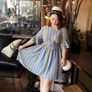 <New> Plus Size Stripes AiIee Dress