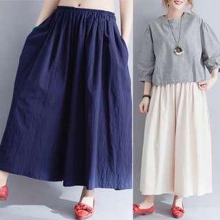 Plus Size  Korean loose cotton retro gentle wide leg pants