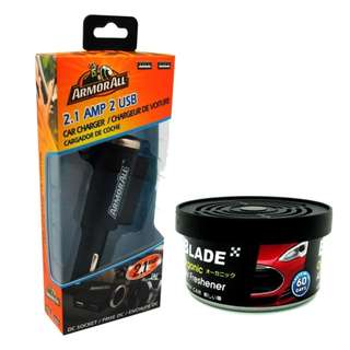Armor All ACC8-0104 2.1AMP Dual Port USB Car Charger with Blade Organic Air Freshener New Car
