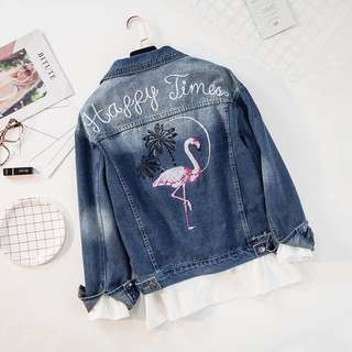 Plus Size Flamingo Embroidered Denim Jacket