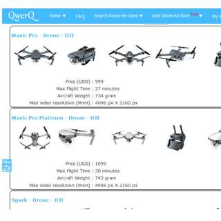 Search & Compare Drone with filter on the features that you want.