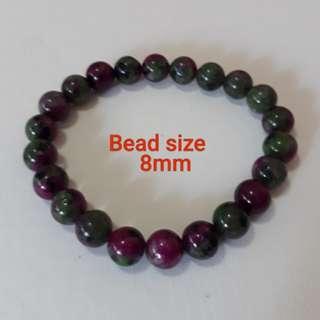 Very nice Ruby Zoisite Bracelet.(红绿宝手链) Bead size 8mm.