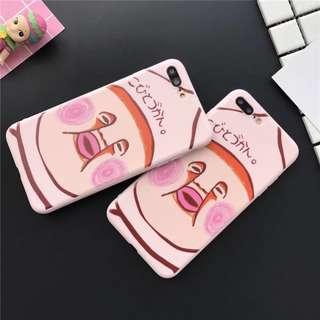 手機殼IPhone6/7/8/plus (沒有X) : 卡通粉色醜比頭屁桃