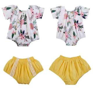 🦁Instock - 2pc yellow floral set, baby infant toddler girl children sweet kid happy abcdefgh