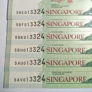 Sg $5  notes 6pc x9
