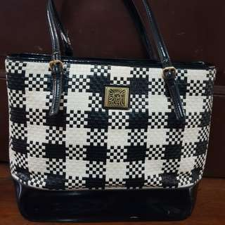 Anne Klein Tote Black and White Faux leather