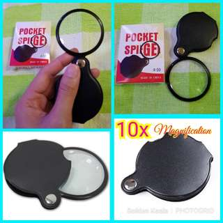 🌟 Pocket Spiegel / Magnifying Glass / Folding Magnifier Loupe with Leather Protection  ✔Magnification: 10x  ✔Can be used for: ✅Reading  ✅Jewellery  ✅Education, Industrial, House & Offices