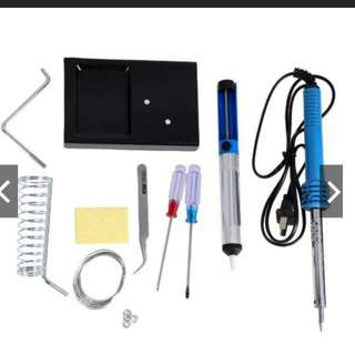 9in1 60W DIY Electric Solder Starter Tool Kit Set with Iron Stand Desolder