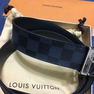 🚚 Louis Vuitton 經典格紋皮帶 (藍格紋) Gucci Zara 可參考