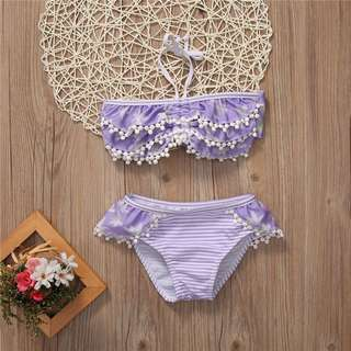 🦁Instock - 2pc purple bikini set, baby infant toddler girl children sweet kid happy abcdefgh hello there