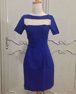Electric blue dress premium quality