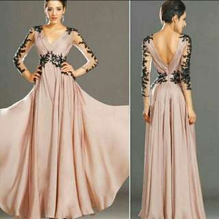 Women V neck Gown Evening Party Cocktail Long Dress