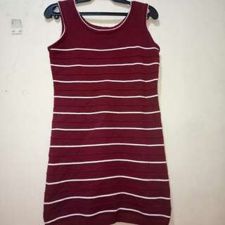 Red & White Striped-Knitted Dress