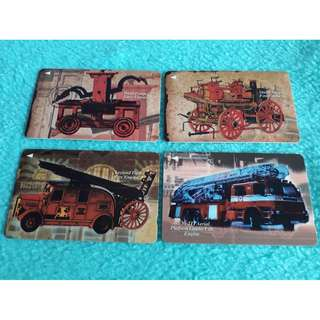 Singapore Fire Engine Then & Now Telephone Cards Set