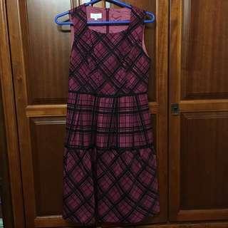 🚚 IRIS紫紅色格紋洋裝#超取再七折