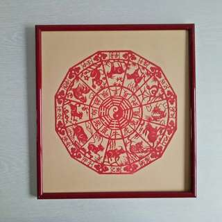 80s Chinese horoscope paper cut with frame size 31x29cm perfect condition