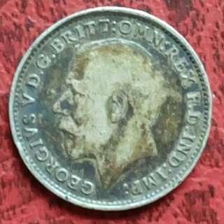 英國小銀幣 1919年 喬治五世 三便士 (九成銀) [免郵費]