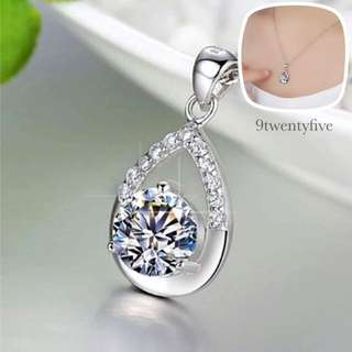 NKLN-013 - S925 Silver Clear Precious Tear Crystal Necklace