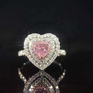 18K白金 粉鑽鑽石戒指