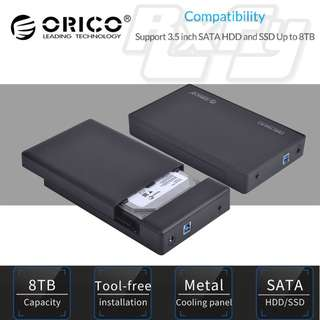 ORICO Tool Free USB 3.0 to SATA External Hard Drive Enclosure case for 3.5 inch SATA HDD and SSD - Black - Support UASP and 8TB Drives