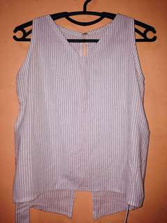Striped sleeveless top (see back details)
