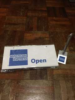"""American Express """"open/close"""" signage with pen & holder"""