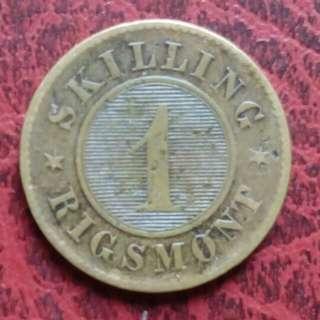 丹麥王國 1856年 壹仙小銅幣 [免郵費]