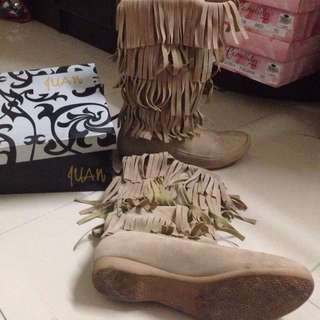 Juan by janylin layer fringe suede boots shoes SIZE 7