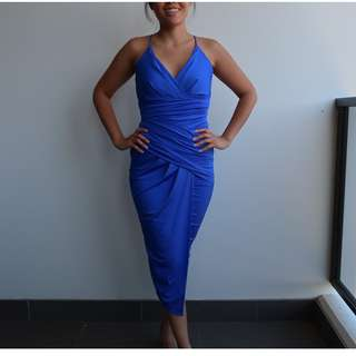 Blue Sheike Cocktail Formal Dress Size 8 Very Good Condition