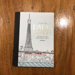 Paris Secret (Coloring Book/Detachable Post Cards) in French