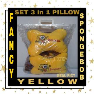 ( NEW PRODUCT ) Set 3 in 1 Bantal Sandaran Kepala utk Jok Mobil ( Depan ) Fancy Spongebob - Yellow