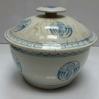 Old China Blue White Porcelain Jar...H7xD7.2xL7.5 inches