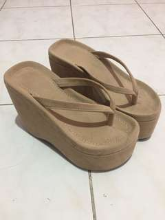 Mocha suade wedge slipper