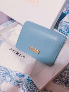 FURLA tri-fold classic small wallet (baby blue)