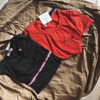 tumblr slogan not your baby / three stripes basic tee shirt