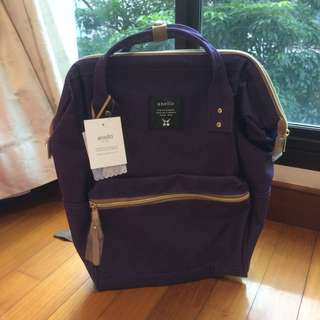 BNWT Authentic Japan Anello Polyester Canvas Backpack Rucksack Regular Size in Dark Purple
