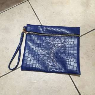 Preloved Clutch Croco Blue