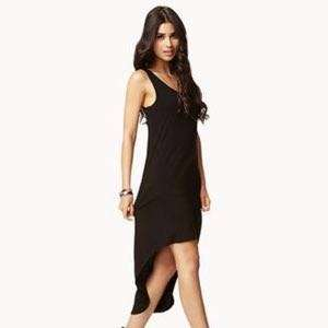 Caged Back black high low dress