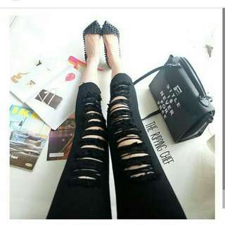 Jeans hipster ripped black