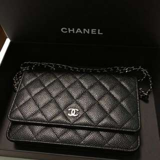CHANEL WOC CLASSIC WALLET ON CHAIN BLACK PRADA MIUMIU HERMES YSL DIOR BAG